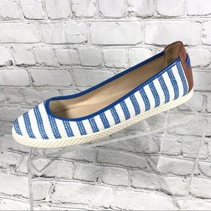 Nine West slip on blue and white striped loafers